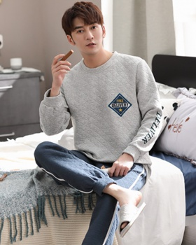 Cotton at home Casual round neck pajamas 2pcs set for men