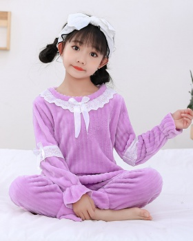 Thermal child girl lovely autumn and winter pajamas a set