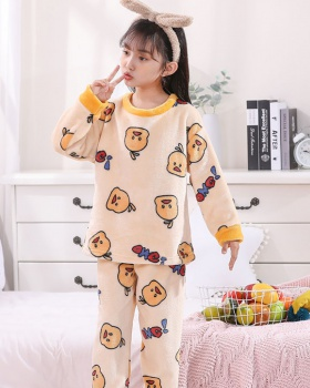 Thermal lovely child autumn and winter pajamas a set