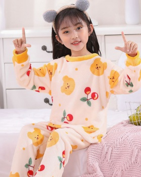 Cartoon lovely thermal child pajamas a set