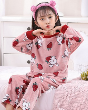 Flannel child thermal autumn and winter pajamas 2pcs set