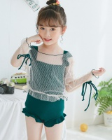 Child long sleeve girl swimwear lace conjoined smock