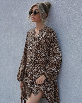 Leopard printing autumn and winter high waist dress