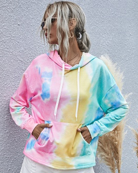Autumn and winter loose hoodie tie dye tops for women