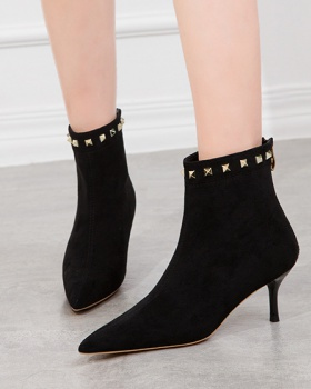 Fashion broadcloth ankle boots pointed stilettos for women