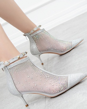 Fine-root mesh high-heeled shoes sexy slim women's boots