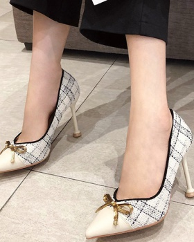 Low bow shoes fine-root fashion high-heeled shoes