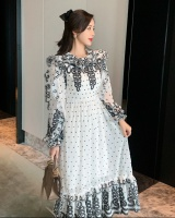 Polka dot winter embroidery puff sleeve lotus leaf dress