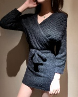 Mink hair Western style sweater package hip fashion dress
