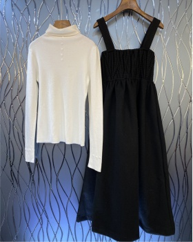 Lady strap dress temperament sweater 2pcs set