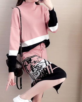 Knitted bottoming sweater package hip skirt 2pcs set