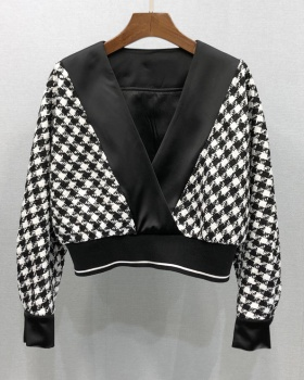 Autumn and winter short tops houndstooth sexy shorts 2pcs set