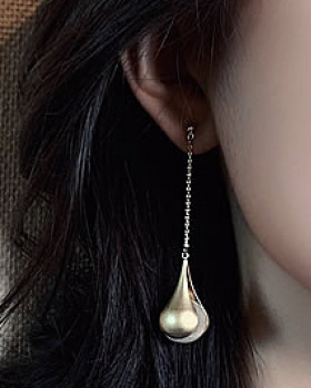 Pearl long elegant antique silver all-match earrings