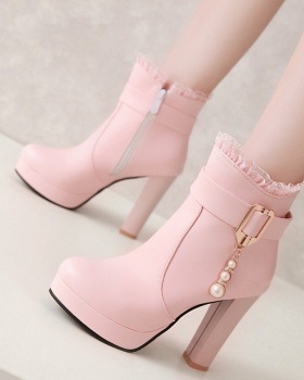 Pearls chain spring and autumn high-heeled low cylinder boots