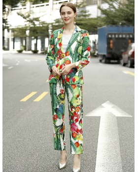 Spring slim coat a buckle business suit a set for women