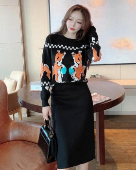 All-match tops knitted one step skirt 2pcs set