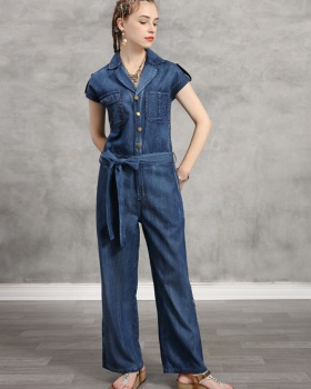 Embroidery large yard jumpsuit high waist retro long pants