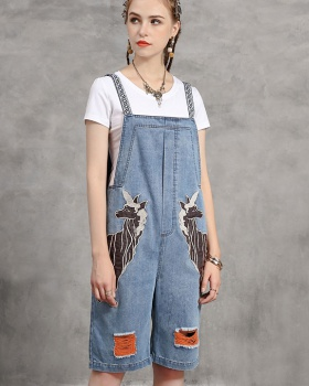 Seven tenths large yard bib pants retro embroidery jumpsuit