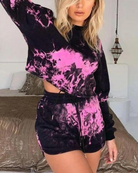 Casual long sleeve spring and summer shorts 2pcs set