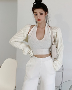 High waist shorts autumn and winter vest 3pcs set