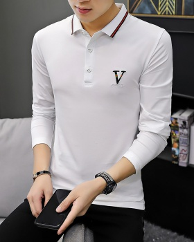 Long sleeve youth embroidered lapel T-shirt for men