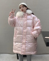 Large fur collar glossy colorful cotton coat for women