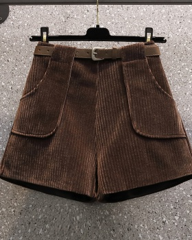 Fat cotton shorts large yard with belt boots pants for women