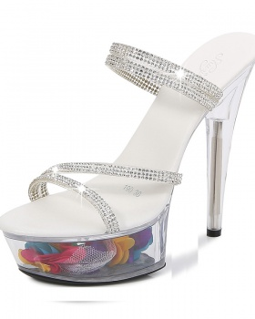 Fine-root crystal platform sexy transparent wedding shoes