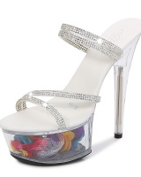Fine-root sexy high-heeled shoes crystal transparent shoes