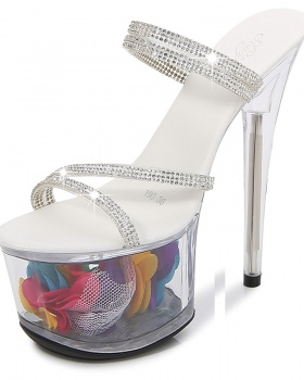 Fine-root sexy shoes transparent crystal sandals