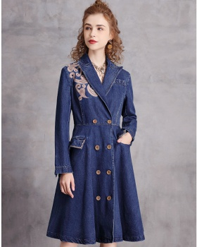 Winter thick long dress retro double-breasted windbreaker