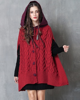 Winter splice cloak retro plaid coat for women
