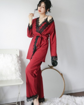 Cotton homewear with chest pad sling sexy pajamas 3pcs set