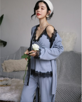 Sexy Korean style with chest pad lace pajamas 3pcs set for women