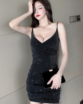 Sling low-cut sexy dress overalls fashion cheongsam for women