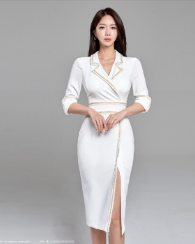 Light split business suit pinched waist sexy dress