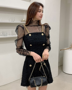 Chain double-breasted dress metal Korean style tops 2pcs set
