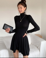 Temperament slim knitted high collar bottoming dress