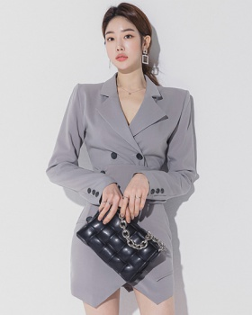 Double-breasted coat profession dress 2pcs set