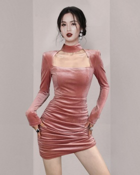 Velvet square collar temperament sexy package hip dress