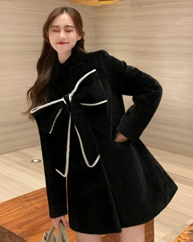 Maiden no pilling bow autumn and winter woolen coat