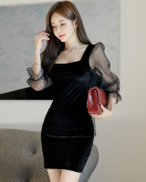 Package hip splice sleeve velvet chiffon dress