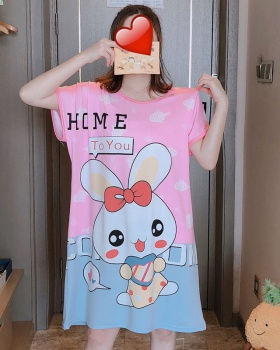 Short sleeve cartoon conjoined enlarge loose night dress