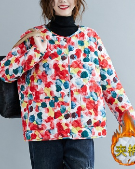 Loose down round neck fashion liner polka dot cotton coat