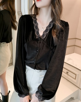Retro velvet tops autumn and winter fashion shirts for women