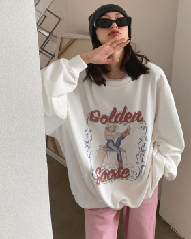 Long retro printing tops letters loose hoodie for women