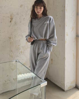 Loose sweatpants pure hoodie 2pcs set for women