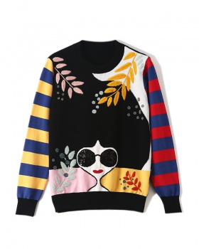 Pullover beading embroidery European style sweater for women