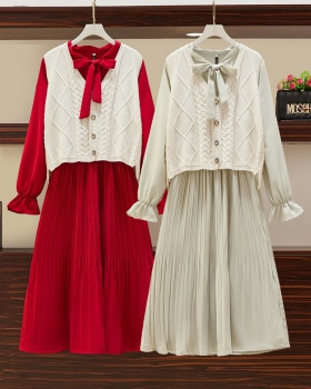 Fat sister waistcoat dress 2pcs set for women