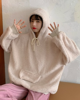 Lazy plush hooded winter hoodie for women